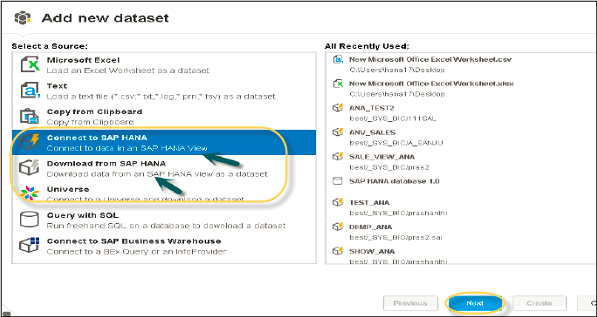 sap hana bi development lumira connection to hana