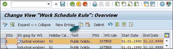 Select Defined Work Schedule Rule