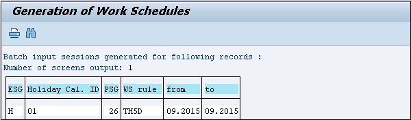 Work Schedule Generated.