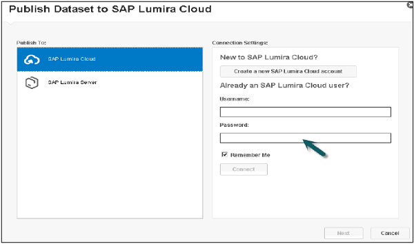 Publishing SAP Lumira Cloud Step2