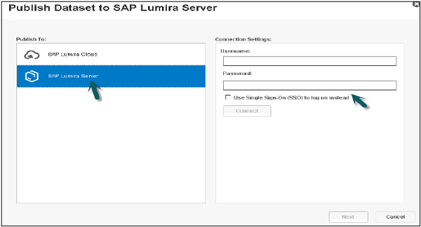 Publishing SAP Lumira Server Step2