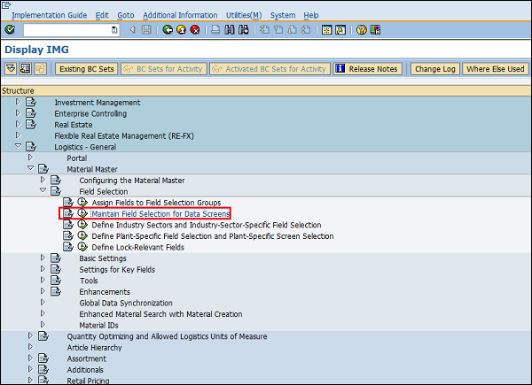 SAP Configuration field selection data screen