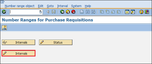 SAP Configuration entry number range purchase requisition