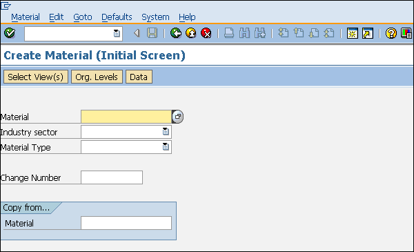 SAP create material entry