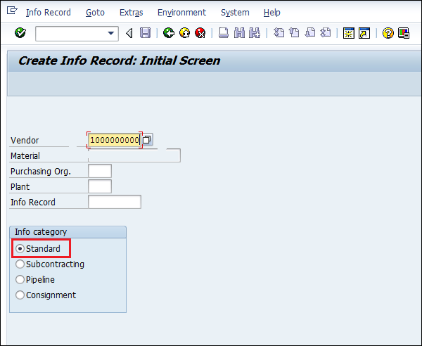 SAP Info Record vendor name