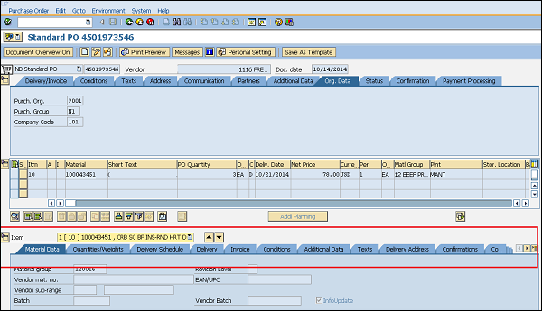 SAP Purchase Order Item tab