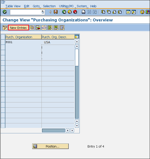 SAP Purchasing Organization Entry