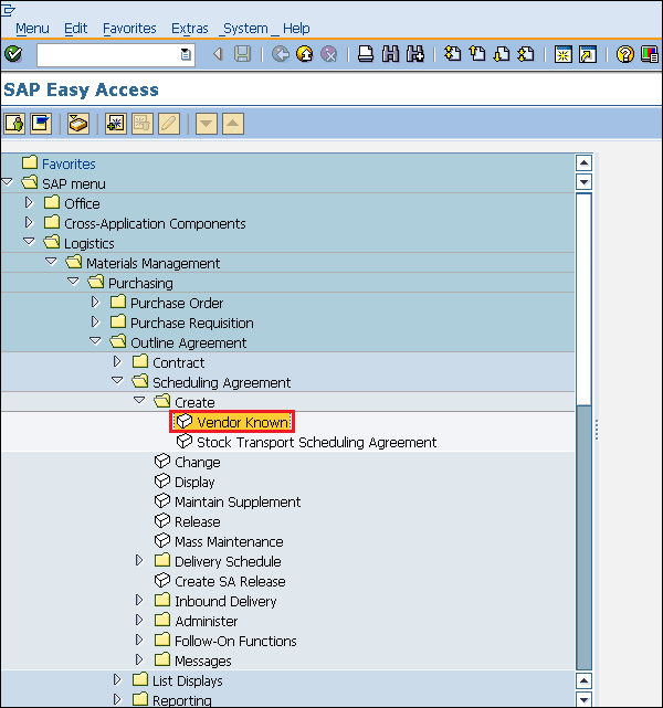 SAP create scheduling agreement