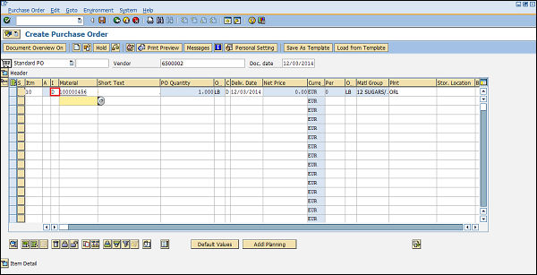 SAP MM Service Management – Generic Purchase Order