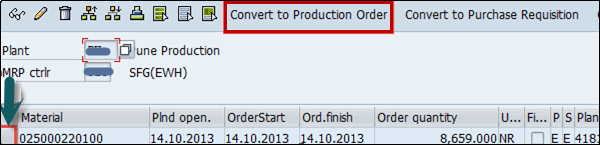 Convert Production Order