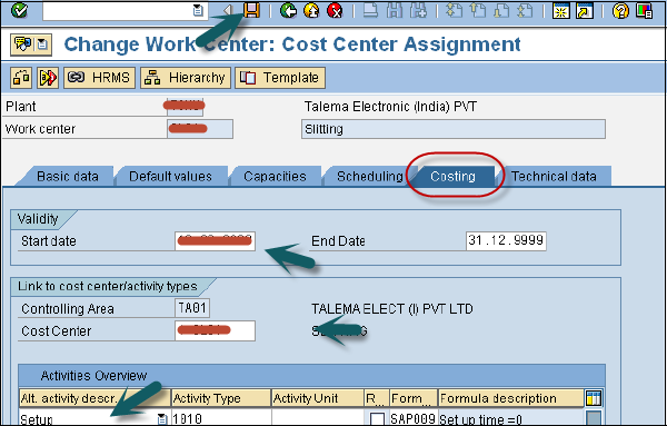 Cost Center Assignment