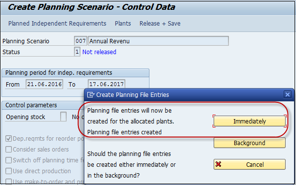 Create Planning File Entries