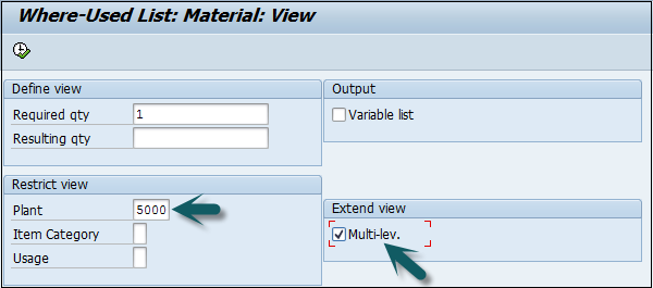 sap pp list in bill of material