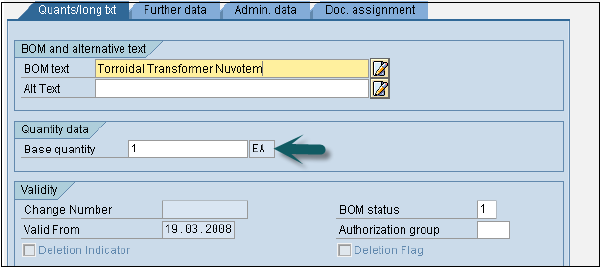 SAP PP - Bill of Materials - Tutorialspoint