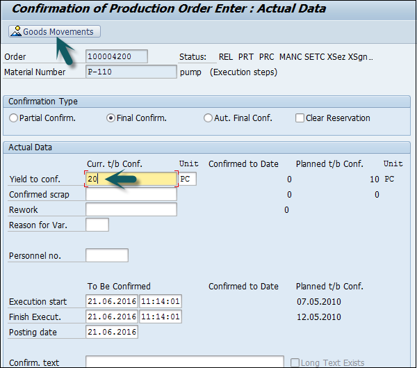 Sap Pp Production Order Confirmation