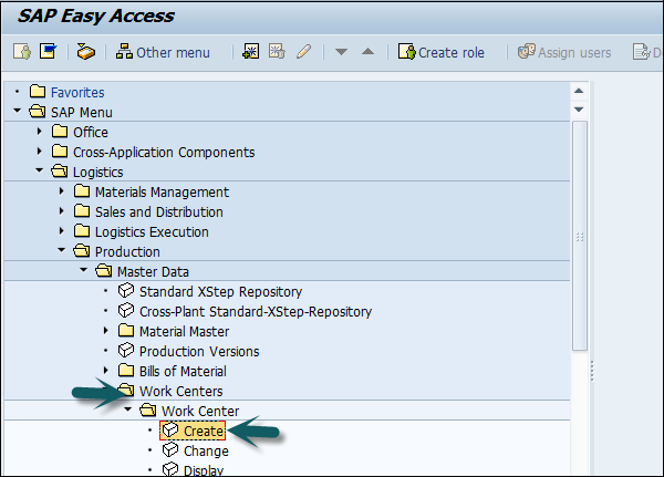 SAP Easy Access Create