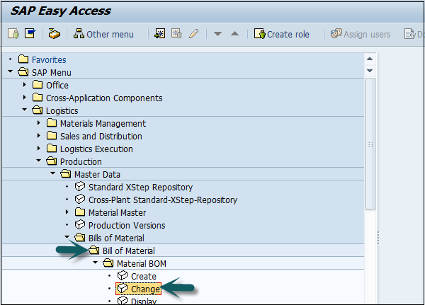 SAP PP Easy Access