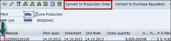Convert into Production Order