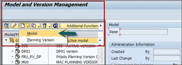 Create Model or Planning Version