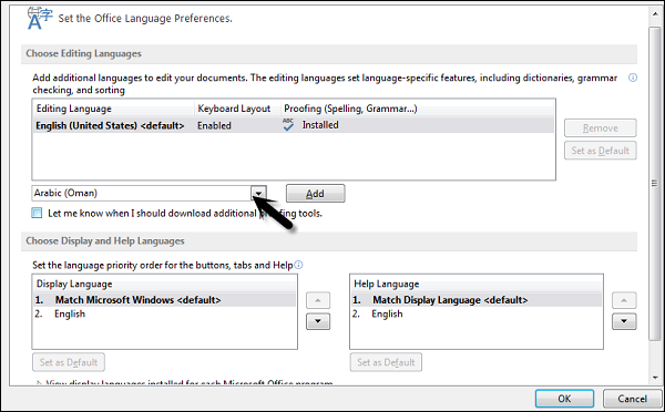 how to change a language in word