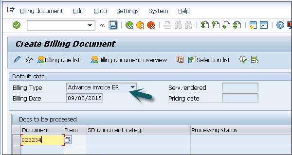 Create Billing Document