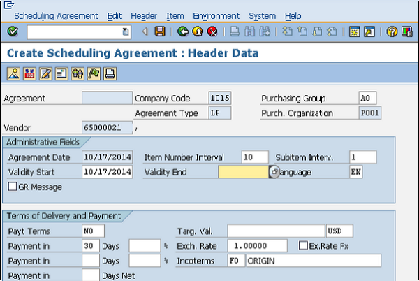 Scheduling Agreement Header Data