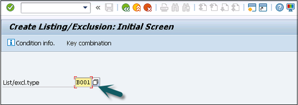 Listing Exclusion Initial Screen