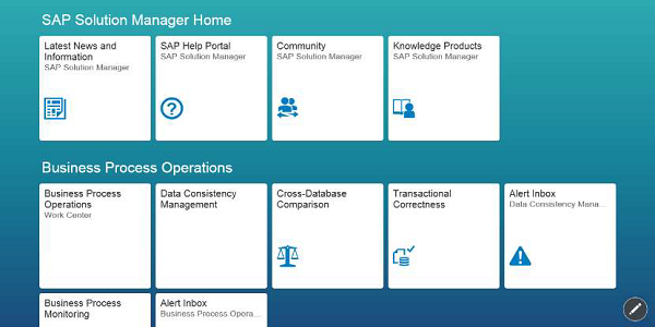Sap solman quick guide in the following screenshot you can see the homepage of sap solution manager 72 with new fiori based launchpad as per defined user roles malvernweather Choice Image