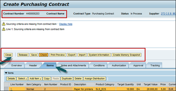 Creating Purchasing Contact