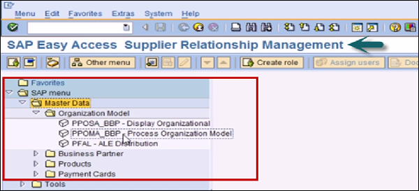 Supplier Relationship Management Screen