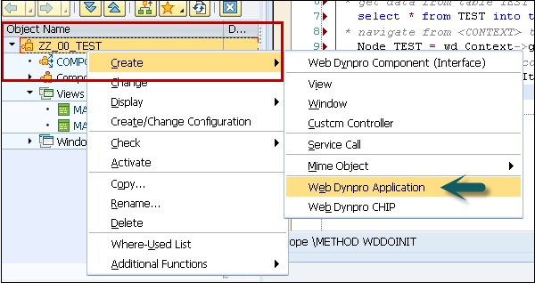 Web Dynpro New Application