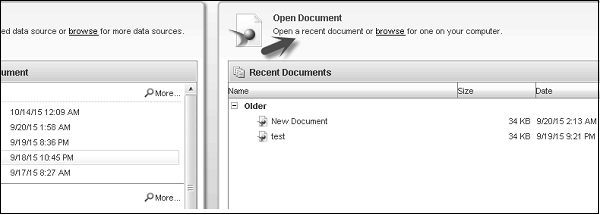 Open Document Panel