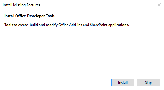 Install Office Developer Tools