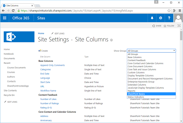 New Group SharePoint Basics