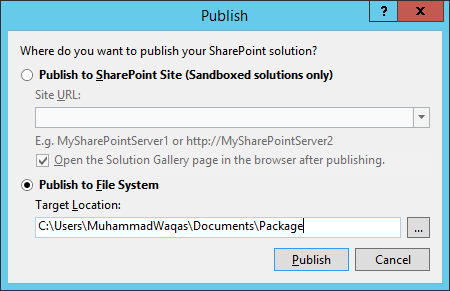 Publish to File System