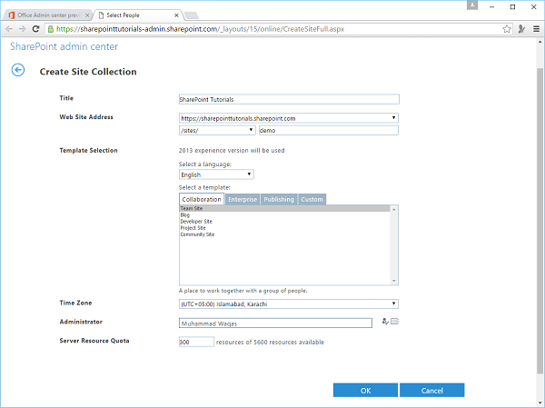 SharePoint Create Site Collection
