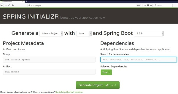 Creating Zuul Server Application