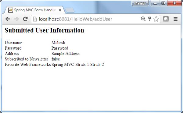Spring MVC - Checkboxes Example - Tutorialspoint