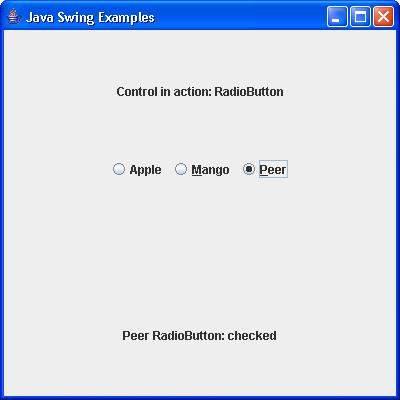 SWING - JRadioButton Class - Tutorialspoint