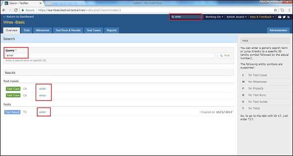 TestRail - Advanced Search Option - Tutorialspoint