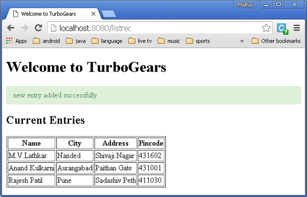 Turbogears - Quick Guide - Tutorialspoint
