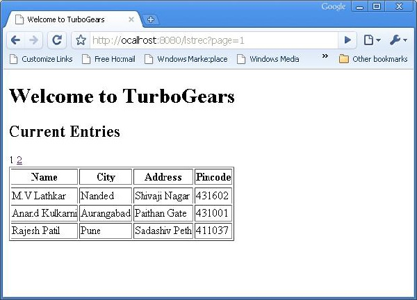 TurboGears Pagination