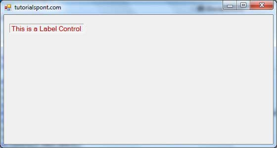 VB Net - Label Control - Tutorialspoint