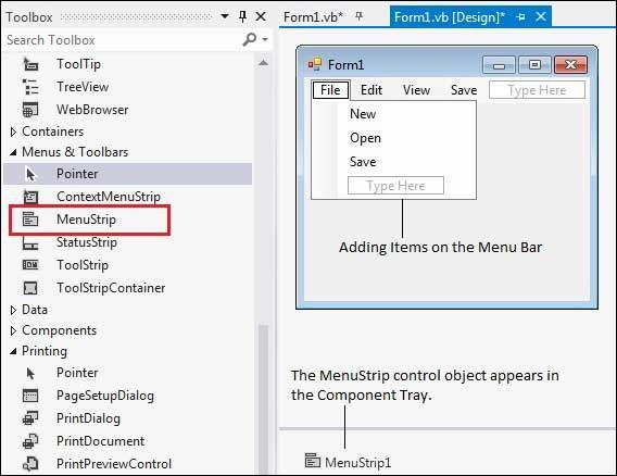 VB Net - MenuStrip Control - Tutorialspoint