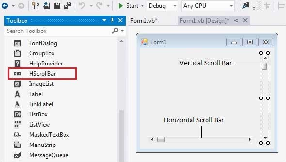 Image result for Scroll Bar in VB.Net