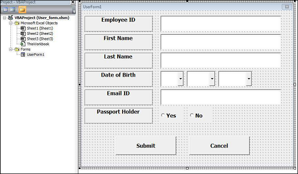 vba code for registration form