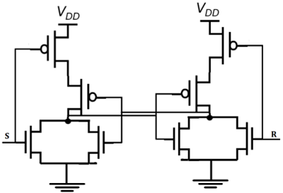 if the s is equal to voh and the r is equal to vol, both of the  parallel-connected transistors m1 and m2 will be on