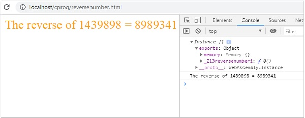 Reverse Number HTML
