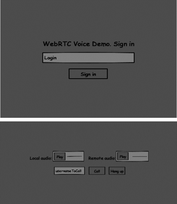 Login and Audio call Page.
