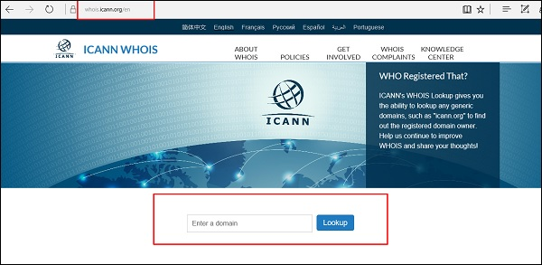 ICANN Whois Page